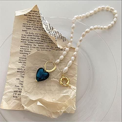collana donna blu Collane di Perle Naturali Irregolari retrò Barocche per Le Donne Collana di Girocolli con Ciondolo A Cuore in Vetro di Colore Verde Blu