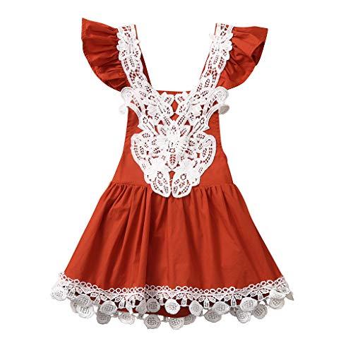 Julhold Kid Kleinkind Baby Mädchen Gallus Lässig Bequem Spitze Halfter Fliegen Ärmel Quaste Baumwolle Kleid Sommer Cool