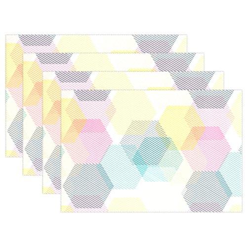 mydaily bunten Sechseck mit Stripe Tischsets für Esstisch-Set der 4hitzebeständig waschbar Polyester Küche Tisch MATS, Polyester, multi, 12 x 18 in