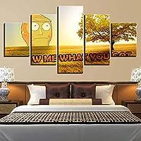 GYFUE 5 Impresiones de Impresiones de imágenesDibujos Animados de Rick y Mortycuadro en lienzodecoración de artepara dormitorios Modernos-with Frame-110x60cm