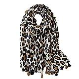 VALICLUD Bufandas de moda para mujer, de gran tamaño, con estampado de leopardo, animales beige M