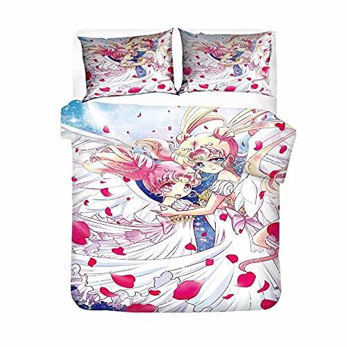 Juego de Funda de Edredón Marinero de La Luna Patrón de Anime de Dibujos Animados 180Cmx200Cm Ropa de Cama de Microfibra Suave Y Cómoda Sailor Moon de Dibujos Animados