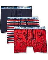Original Penguin Men's Cotton Stretch Boxer Brief Underwear, Multipack, SKYC/RDRSST/SSG - 3 Pack, X-Large