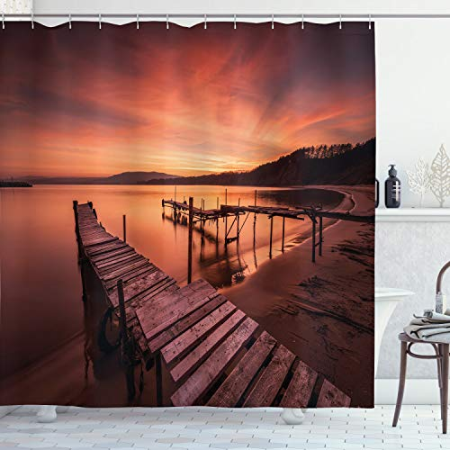 """Ambesonne Orange Shower Curtain, Old Rustic Pier on The Beach and Romantic Tranquil Sky Pure Twilight Concept Scenic, Cloth Fabric Bathroom Decor Set with Hooks, 75"""" Long, Orange"""