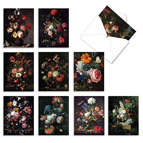 The Best Card Company - Box of 10 Blank Note Cards (4 x 5.12 Inch) - Artistic Classic Artwork, Bulk Assorted Cards - Baroque Blooms M10020BK