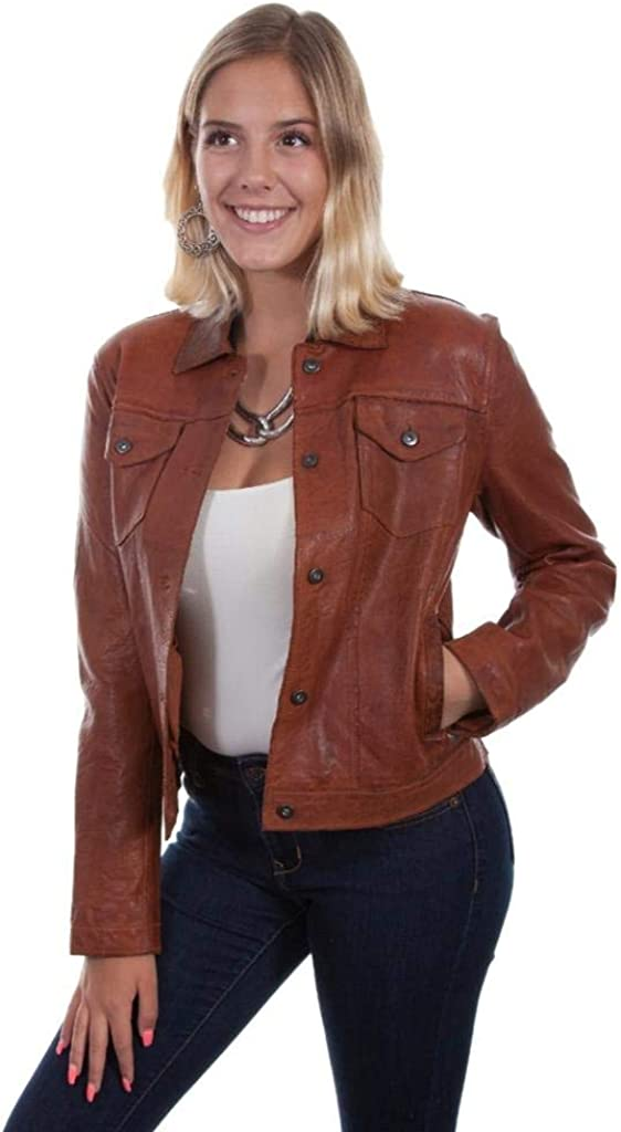 Scully Western Jacket Womens Leather Jean Button M Cognac F0_L1031