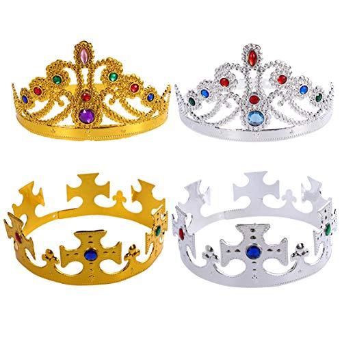 Minkissy Accessorio per Costume da Re Regina per Bambini con Corona da Festa per La Festa di Compleanno