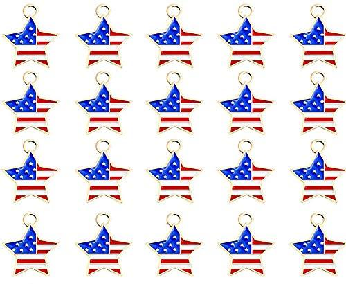 OeyeO 20 stks Patriottische Rood Wit Blauw Amerikaanse Vlag Ster Hanger Charme voor Sieraden Maken Onafhankelijkheid Dag Decoratie Ster