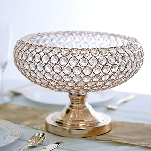 "Efavormart 300 Acrylic Crystal Beaded 9"" Gold Tabletop Candle Holder Bowl Flower Vase Event Centerpiece"