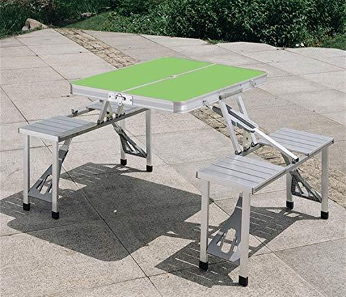 Table HDS Extérieur Fold Pliante de Jardin en Alliage d'aluminium Fold Chaise Set Mobilier de Pique-Nique Camping Portable Outdoor Fold (Color : Green)