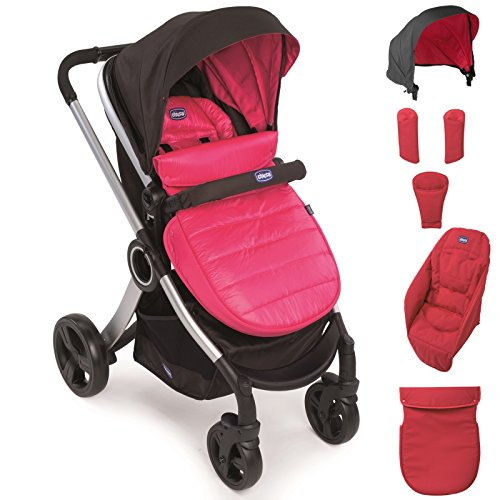 Chicco Urban Color Pack - Set de accesorios: capota + cubrepiernas + calientamanos + kit confort, color rosa