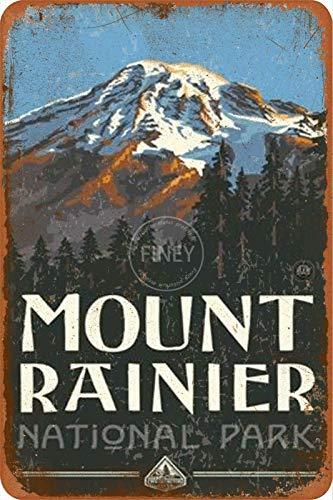 Mount Rainier National Park - Cartel de metal estilo callejero para garaje, club, bar, cenador, casa de campo familiar, decoración al aire libre, 20,3 x 30,4 cm