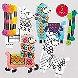 Baker Ross Kits de lamas à décorer avec points de croix (Paquet de 5) - Loisirs créatifs pour enfants et...