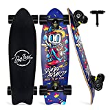 Beleev Cruiser Skateboards for Beginners, 27 Inch Complete Skateboard for Kids Teens Adults, 7 Layer Canadian Maple Double Kick Deck Concave Trick Skateboard (Blue)