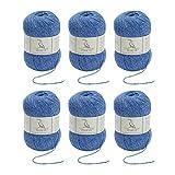 TEHETE Ovillo de lana, Hilados lana merino,6 Bolas x 50g, Hilo para manta,suéter calcetín, bufanda, diy, ganchillo y tejido-Violeta azulado