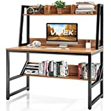 VIPEK Computer Desk with Hutch and Bookshelf, 47' Home Office Desk PC Laptop Table Workstation Study Writing Desk, Modern Desk with Storage Shelves, Space Saving Desk for Small Spaces, Suntalam Walnut