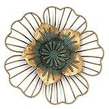 Funly mee Vintage Metal Floral Decoración de pared Flor Arte Escultura Colgante de pared para el hogar Jardín Patio (dorado)