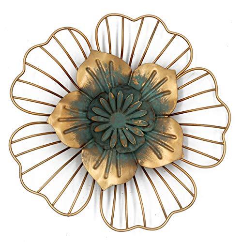Funly mee Vintage-Wanddekoration aus Metall, Blumenkunst, Skulptur, Wandbehang für Haus, Garten, Terrasse, goldfarben
