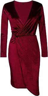 7TECH Slim Sexy V Neck Irregular Dress,Wine Red
