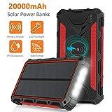 Solar Charger 20000mAh, Wireless Portable Solar Power Bank External Backup...