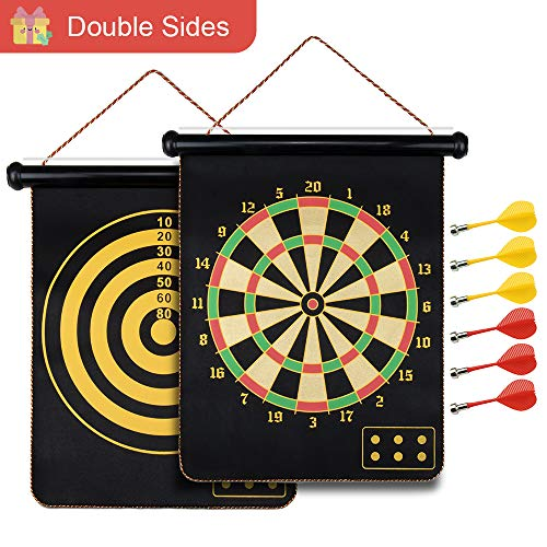 Safety Magnetic Dartboard Board Game Set -Two Sided Bullseye Dartboard,17 Inch Dart Board with 6 pcs Safe Darts, Easily Hangs Anywhere,for Adults Family Party Leisure Sports Games Gifts …