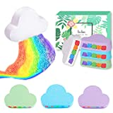 Rainbow Bath Bomb Gift Set-4PCs Large Bath Bombs for Women, Natural Bath Bombs with Moisturizing Shea Cocoa Butter, Bubble Bath Fizzy Valentine's Day Gifts for Her, Girls, Mom