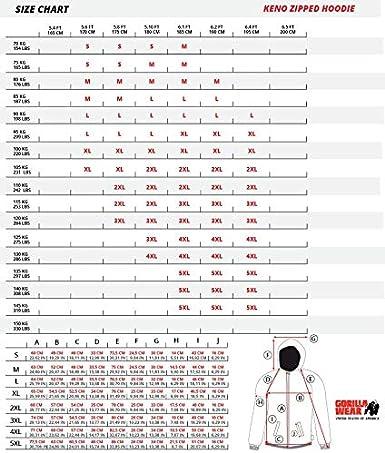 GORILLA WEAR Keno Zipped Hoodie wei/ß schwarz Bodybuilding und Fitness Weste f/ür Herren
