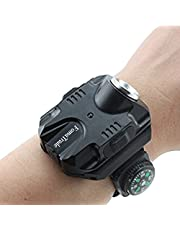 FomaTrade Super Bright Wrist LED Light Rechargeable Waterproof LED Flashlight Wristlight,Watch Flashlight with Compass Tactical Flashlights for Outdoor Running, Hiking, Camping, Biking