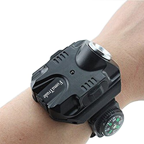 FomaTrade Super Bright Wrist LED Light R2 Rechargeable Waterproof LED Flashlight Wristlight,Watch Flashlight with Compass Tactical Flashlights for Outdoor Running, Hiking, Camping, Biking(Black)