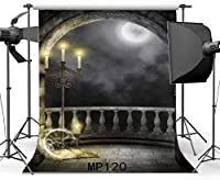 HD7x10ftゴシックの背景マジックブックシャイニングムーン・ナイトのビニールバックドロップローソク足グランジレンガの壁アーチドア魅惑の写真の背景キッズ大人マスカレードフォトスタジオの小道具MP120