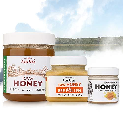 【Amazon.co.jp限定】 非加熱 無殺菌 ハニー セット品 純粋生はちみつ/ビーポーレン生はちみつ/フォレスト純粋生はちみつ ギフトセット オゼリー産の生はちみつセット Ozery Lake Raw Honey Gift Set: Raw Hone
