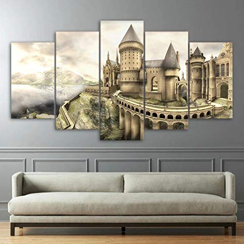 ADKMC 5 piece canvas wall art for living room Decorations Prints Castle Abstract Modern Home Decor The room Stretched and Framed Ready to Hang artwork