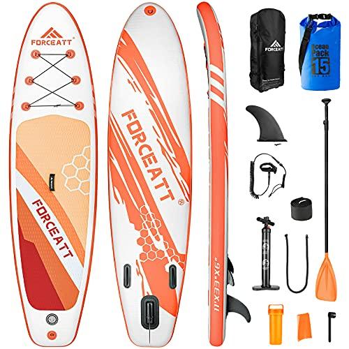 Forceatt Tabla de Paddle Surf Hinchable Sup Inflatable, Stand up Paddle Board de 335×84×15cm para Todos Los Niveles de Habilidad, Bomba de Mano, Cubierta Antideslizante, Bolsa Impermeable, y así