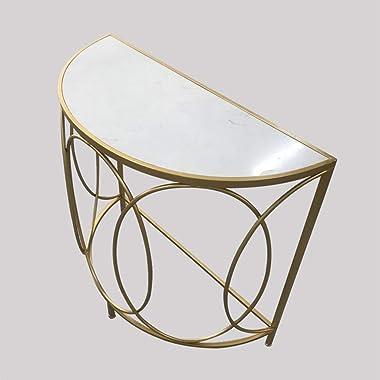Oupai Tables Console, Fer Art d'or Entrée en Marbre Table DemiCercle Garde-Meubles Livingroom Canapé Table D'appoint
