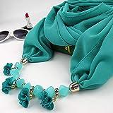 YUANCHENG Frauen gedruckt Chiffon Ring Hijabs Multi-Stil Halskette Blumen Anhänger Schal, grün