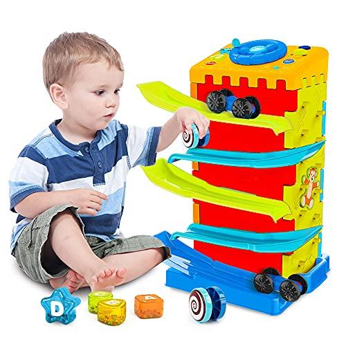 VATOS Baby Auto Rampe Spielzeug für 1 2 3 Jahre altes jungen Mädchen,5 in 1 Multi Race Car Track Aktivitätswürfel Lernspielzeug, Auto-Spielset mit Musik & Licht Lenkrad, Montessori Kleinkind Spielzeug