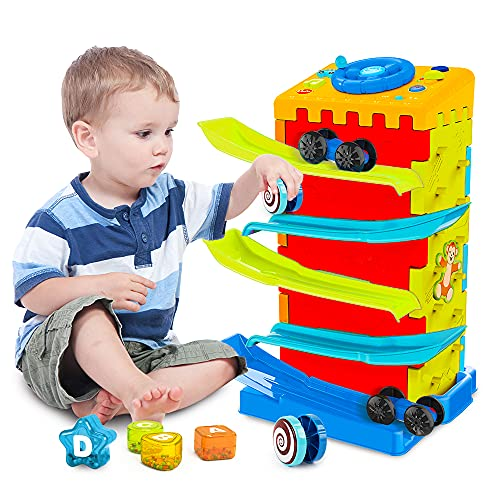 VATOS 5-in-1 Activity Cube toys, Race Car Ramp Track,Toddler Toys,...