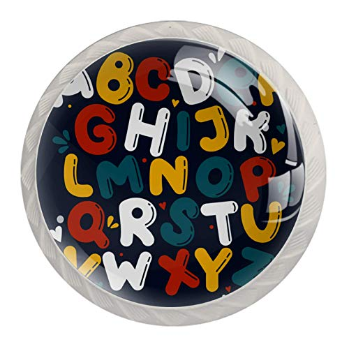 ATOMO 4 pomelli per armadietti per cassettiera, credenze, armadietti, armadi, bagno, verde scuro, lettere maiuscole inglesi
