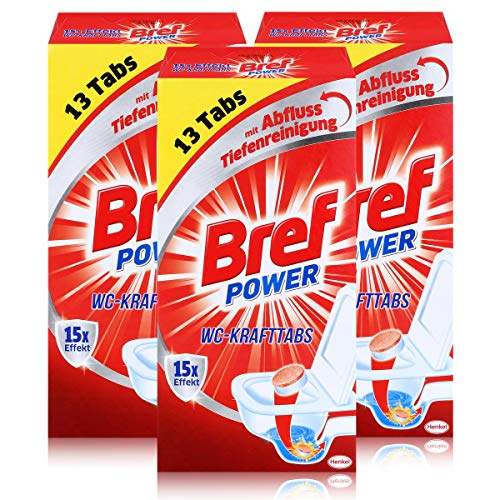 Bref Power 15x Effekt WC-KraftTabs (3 x 13 Tabs) Toiletten Reiniger (3er Pack)