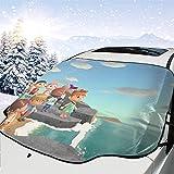 人気 フロントガラスカバー あつまれ どうぶつの森8 (3) 凍結防止シート 車用サンシェード 遮熱 内蔵吸盤 強力付着 防風 防水 取付簡単 四季通用
