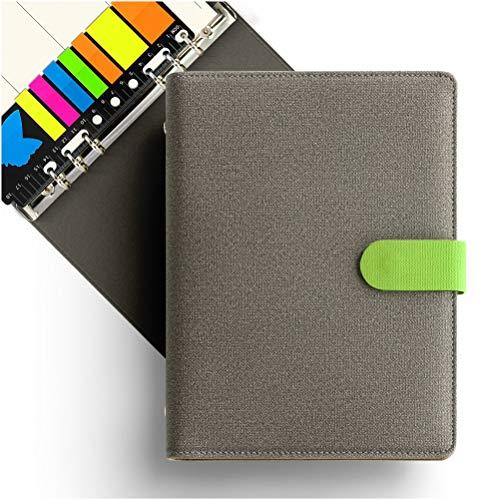 KKdragon Taccuino A5 Copertina Rigida + Sticky Memo Notes + Piano Settimanale e Righe Linee Ivory-Colored Carta, 6 Fori ad Anelli, PU Stile Tela, Contrasto di Colore, 80 Fogli/160 Pagine
