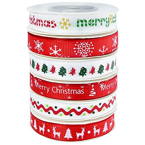6 rollos de cinta de grogrén navideño, 9 m, colorido paquete de cinta de satén de tela ancha de poliéster para envolver regalos de Navidad, bodas, hacer lazos de 60 yardas