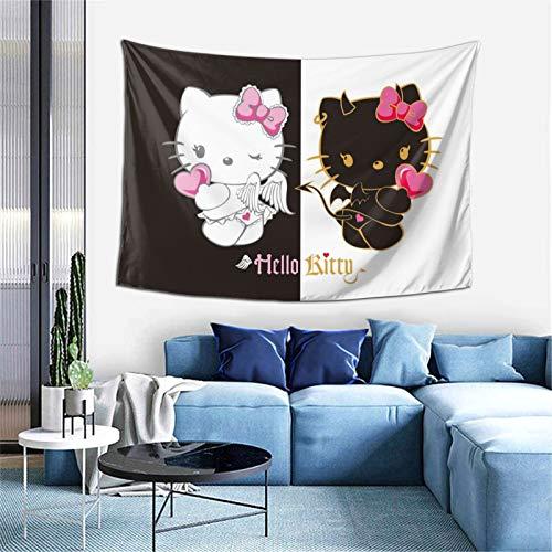 WOMFUI Wandteppich mit Engel-Teufel-Motiv, Hello Kitty-Motiv, Schwarz & Weiß, Kunst, Heimdekoration für Zimmer (101,6 x 152,4 cm)