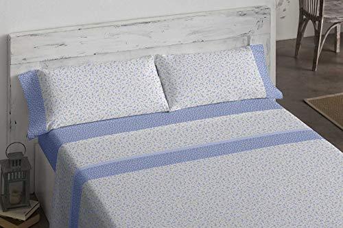 Burrito Blanco Juego de Sábanas 487 con Estampado Primaveral de Pequeñas Flores en Tonos Azul para Cama de Matrimonio 150x190 hasta 150x200 cm. Tejido Suave 50% Algodón - 50% Poliéster. Color Azul.