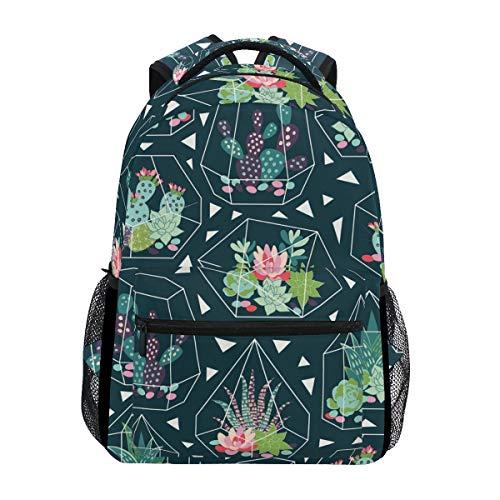 KUWT Succulents Flower Cactus Geometric School Backpack Casual Shoulder Bag College Bookbag Travel Hiking Daypack