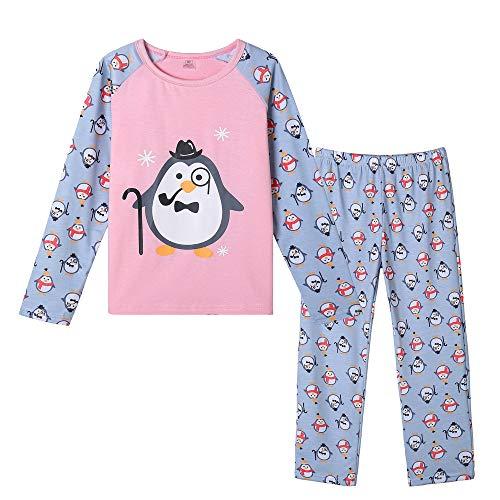 MyFav Girl's PJS Christmas Cute Penguin Print Long Sleeve Pajamas Set, Penguin, 7 Years