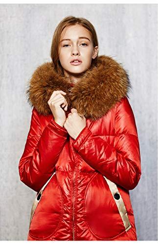 NDBBWG Down Jacket Winter Dicker Warmer Flauschiger echter Mantel 90% Daunen Mäntel Winddichte knöchellange warme Daunenoberbekleidung für Frauen, M.