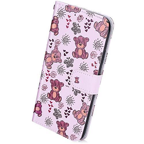 Herbests Kompatibel mit Huawei P40 Pro Handyhülle Retro Bunt Muster Flip Case Leder Schutzhülle Brieftasche Wallet Hülle Klapphülle Ledertasche mit Magnet Kartenfach,Niedlich Bär