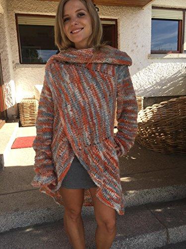 Jacke, Jacke oder Mantel für Frühling-Herbst, Mohair und Acryl, sehr stilvoll, mehrfarbig, handgewebt, Größe M-L, für Frauen oder Mädchen