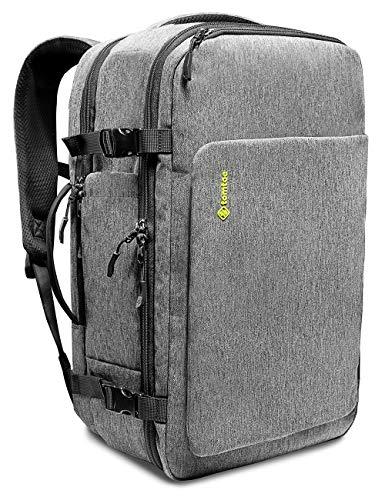 tomtoc 40L Handgepäck Rucksack, Reiserucksack für Flugzeug Wasserdicht kompatibel 17 Zoll Laptop Regenschutz Bordgepäck Travel Backpack für Reise, Business, Outdoor Herren, Grau